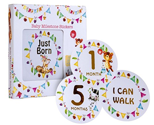 Newborn Baby Monthly Milestone Stickers -Woodland Friends- Hot-Pressed Gold Lettering/Numbers (Set of 16) Birth to 12 Months + 3 Bonus Achievement Stickers - Perfect Gift and Scrapbook Keepsake