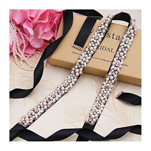Yanstar Rose Gold Pearl Rhinestone Wedding Bridal Belt Sash with Black Ribbon for Wedding Dress