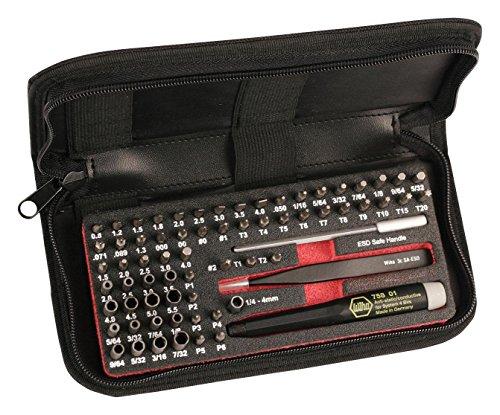 WIHA 75977 Tools, Bit Set, Micro, ESD, Tweezer, 68 Piece - Esd Tweezers Safe Point Fine