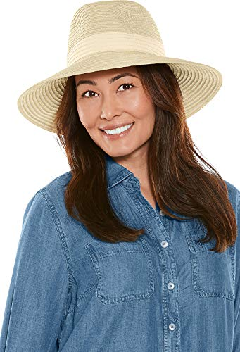Coolibar UPF 50+ Women's Matera Classic Brim Hat - Sun Protective (One Size- Natural Colorblock)