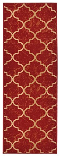 Custom Size Trellis Red Roll Runner 26 in Wide x Your Length Choice Slip Resistant Rubber Back Area Rugs and Runners (Red, 6 ft x 26 in)