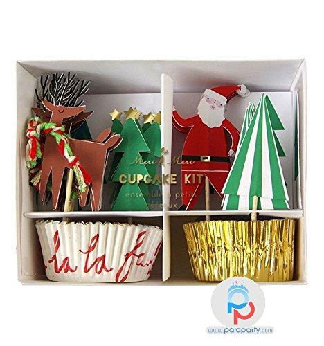 Meri Meri Very Merry Santa, Reindeer & Christmas Trees Cupcake Kit (Christmas Company Decorating Home)
