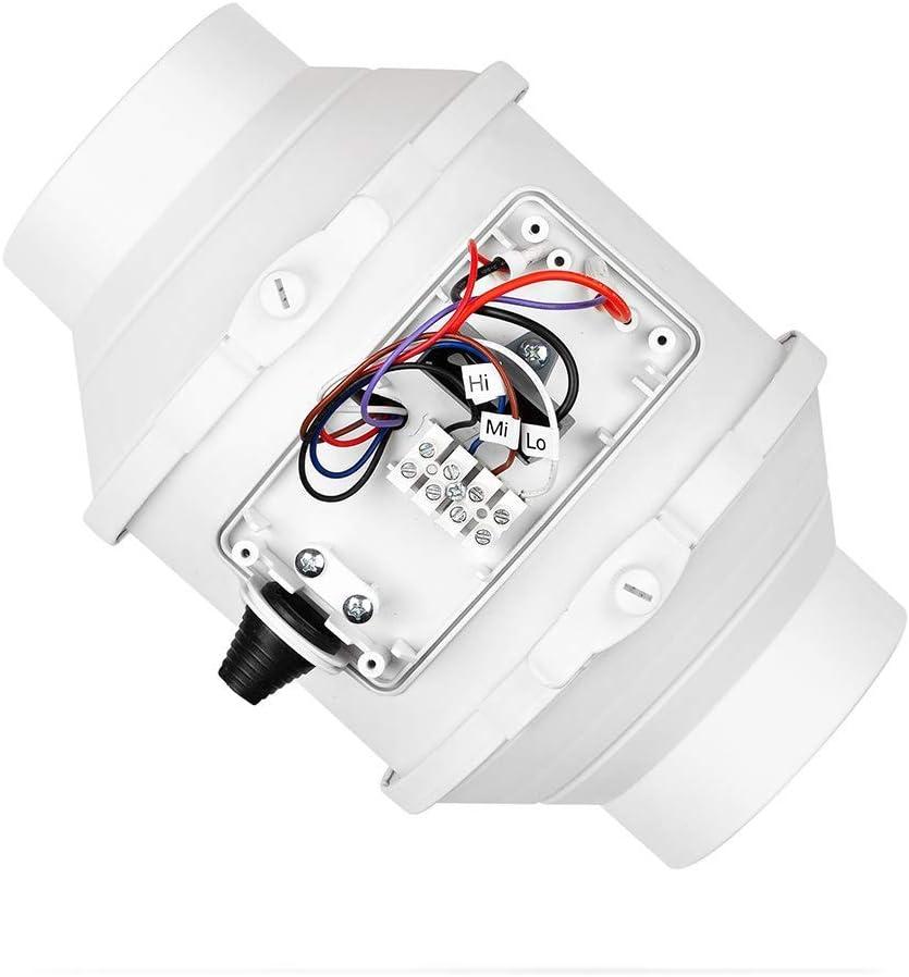 calimaero califlow 100 mm Professional Inline Rohrventilator 198m/²//h 140 Pa 33 W Zuluft Abluft Plastik Kanalventilator mit Stecker
