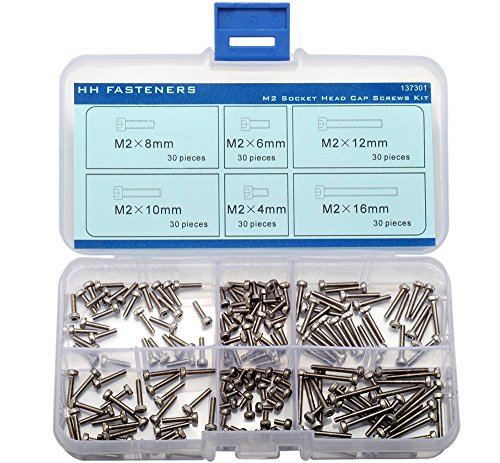 A2 Stainless Steel M2 Hex Socket Head Cap Screw Qty 180 pieces Assortment Set (180 Cap Set)