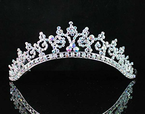 Janfashions Sexy Ab White Austrian Rhinestone Crystal Crown Tiara Combs Bridal Wedding T301a (Sexy Rhinestone Genuine)