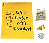 Giggle Golf Par 3 - Life's Better With Bubbles Towel, Tee Bag And Bling Ball Marker With Hat Clip – Perfect Golf Gift For Women