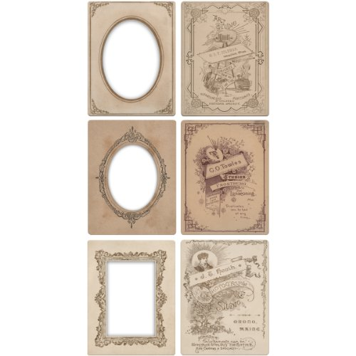 Mini Cabinet Card Frames by Tim Holtz Idea-ology, 6 per Pack, 3.25 x 4.25 Inches, TH93118