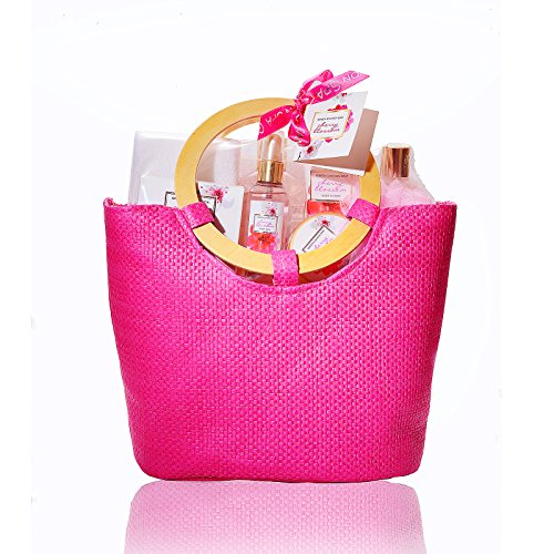 Spa Bag Gift Set (Gift Baskets for Women in Cherry Blossom, No.1 Mothers Day Gift Ideas for Her, 10 Pcs Premium Bath and Body Gifts Sets in Pink Tote Bag, Best Gifts for Anniversary, Birthday, Wedding, Baby Shower)