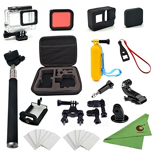 Xixihaha 28 in 1 accessories Kit for GoPro Hero 5 Action Video Camera Waterproof Case Storage Bag Bike Mount Selfie stick Diving filter Silicone Protective Case for GoPro Hero5 black Outdoor Sport DV