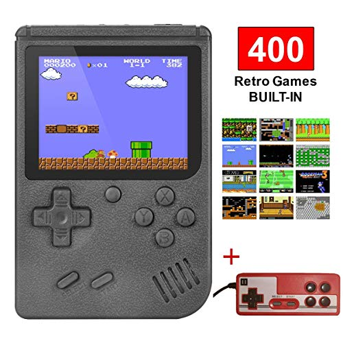 Retro Handheld Game Console Built in 400 Games FC System Plus Extra Joystick for 2 Player Portable Mini Controller 3 Inch Support TV for Boy Kids Adult Gift
