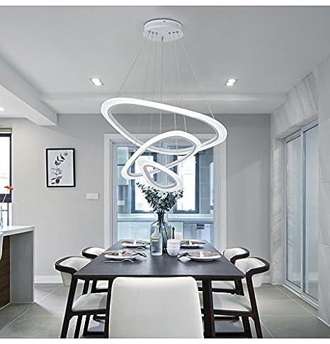 LED 3 Ring Pendant Light Modern Framed Design Elegant Dining Room Hanging Lights White Acrylic