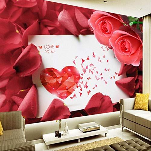- xbwy Photo Wallpaper Custom Romantic Rose Postcard Wallpaper Tv Backdrop Mural Bedroom Hotel Theme Restaurant Wallpaper-400X280Cm