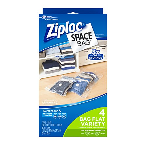Ziploc Space Bag, Dual-Use Combo Pack, 4 Count (2 Medium Dual-Use Flat Bag, 2 Large Dual-Use Flat Bag)
