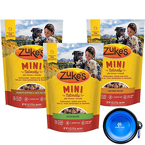 Zukes Mini Natural Soft Treats - Variety 3 Pack for Dogs - 18 Total Ounces (Duck,Peanut Butter & Chicken) W/ Hotspot Pets Bowl