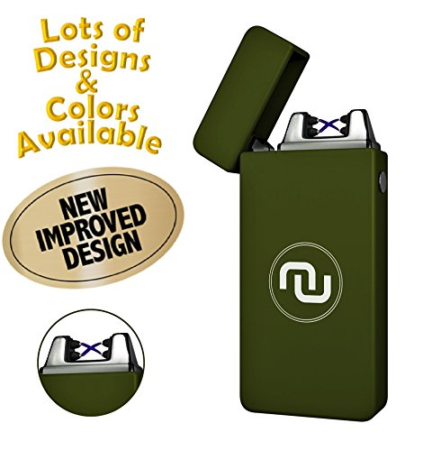 Novelty Wares - USB Flameless Plasma Dual Arc Rechargeable Windproof Cigarette Lighter with Charging Cable and Gift Box (Tactical Green)