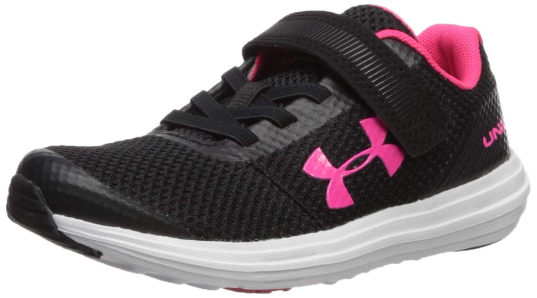Under Armour Girls' Pre School Surge RN Adjustable Closure Sneaker, Black (001)/White, 2