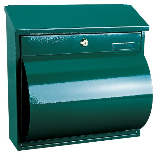 Green Newspaper Holder (Rottner 207 A4 Wallersee Green Steel Large Letter Box With Integrated Newspaper Holder)