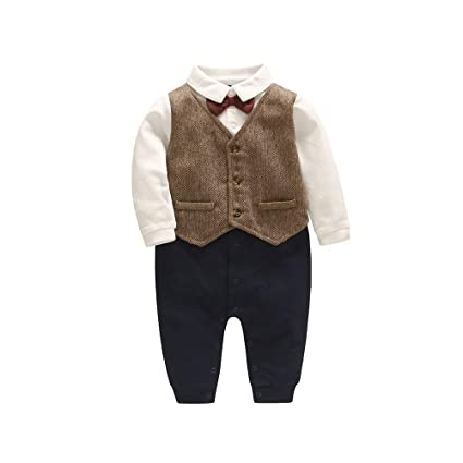 aa1aa34a8ce6 Amazon.com  Toyvian Baby Boy Outfits Set Long Sleeves Gentleman Bow ...