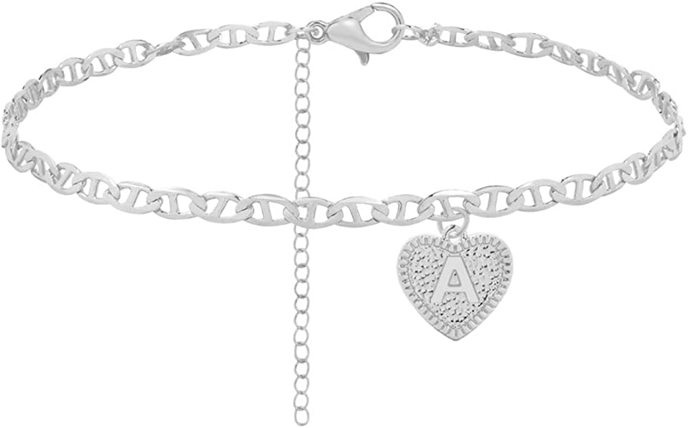 Initial Anklet Silver Ankle Bracelets for Women, Mariner Chain Letter Anklet with Initials Cute Summer Anklets for Women Girls