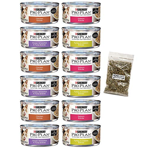 Purina Bundle Pro Plan Savor Cat Food Variety Pack, 4 Flavors, 5.5-Ounces Each (12 Total Cans) with Catnip For Sale