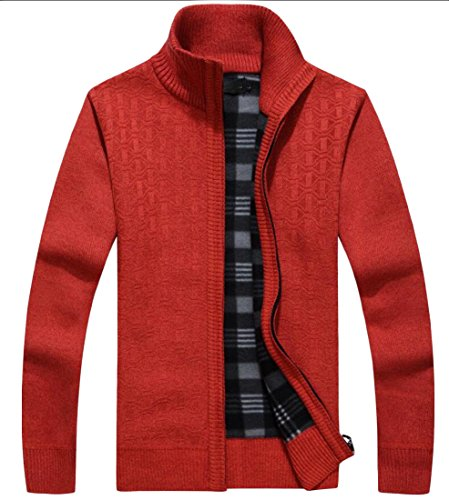 M&S&W Men's Winter Full Zipper Long Sleeve Sweater Jackets Red