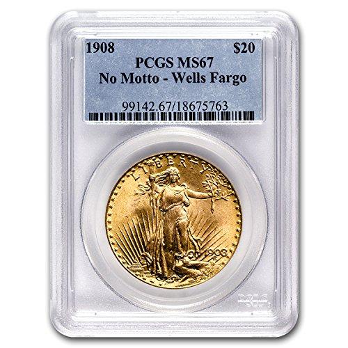 1908  20 St  Gaudens Gold No Motto Ms 67 Pcgs  Wells Fargo  G 20 Ms 67 Pcgs