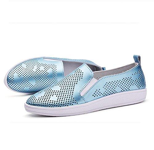 Zapatos EU37 Blue 5 Mujeres Cuero Verano CN37 Ahuecar Sandalias US6 UK4 Grueso 5 Black Bajos Zapatos Genuino Casual 7 5 Fondo Sencillo SHANGXIAN TnzWv7B7