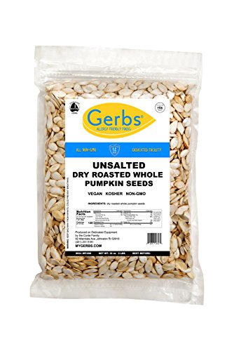 Unsalted Whole Pumpkin Seeds, 2 LBS by Gerbs  Top 12 Food Allergy Free & Non GMO - Vegan & Kosher Certified - Dry Roasted In-Shell Pepitas from United States
