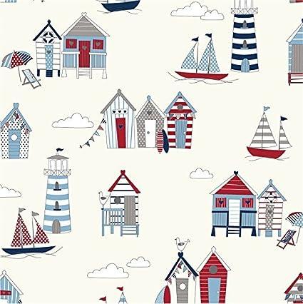 Rojo y azul diseño de casetas de playa tela de algodón – cortina Manualidades Patchwork acolchado