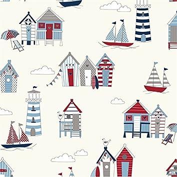 Rojo y azul diseño de casetas de playa tela de algodón - cortina Manualidades Patchwork acolchado se vende por metro por Pandoras Upholstery: Amazon.es: ...
