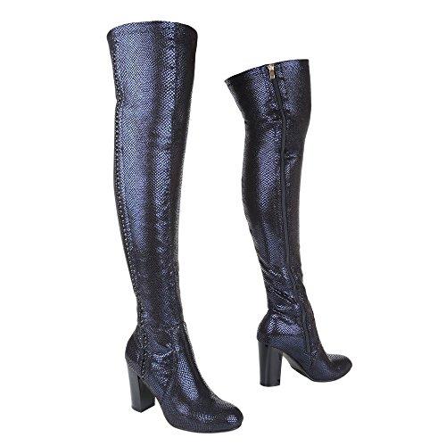 Ital-Design - botas clásicas Mujer azul plateado