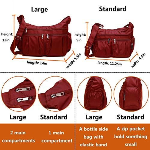 Crossbody Bags for Women, Multi Pocket Shoulder Bag Waterproof Nylon Travel Purses and Handbags (8981_Red-Large) by VOLGANIK ROCK (Image #3)