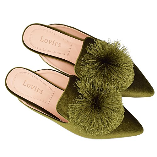 Flats Backless Loafers Women's On Green Lovirs Mule Velvet Slip Shoes Embroidery Slippers 6YxEFX
