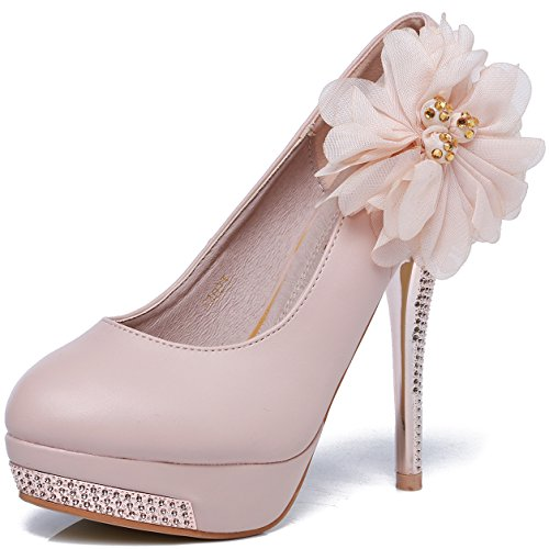 0cf60b1f29f80 lovely GATUXUS Women Royal Lace Flower Stiletto Platform High Heel ...