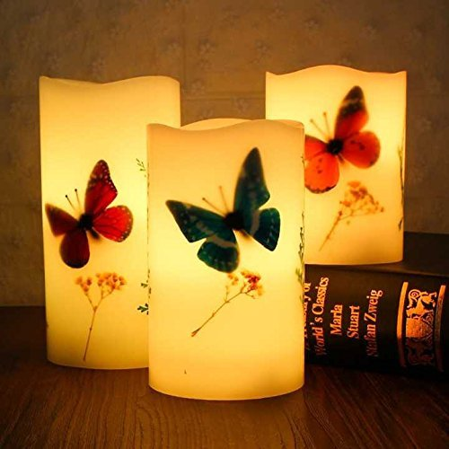 Flameless LED Candles Set of 3 (H4''5''6'' x D3'') Real Wax Butterfly Candles 18-Key Remote Control with Timer Function 300+ Hours by 2 AA Batteries Waterproof Outdoor Indoor Candles for Gift ()
