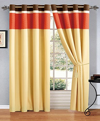 Modern 4 – Piece Orange / Brown / White Embroidered Grommet curtain set Drapes / Window Panels 120″ Wide X 84″ Tall