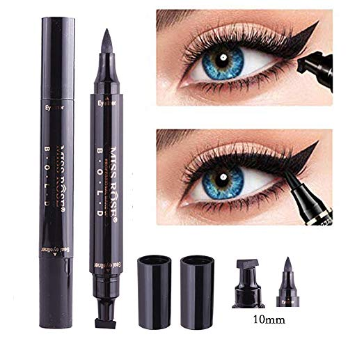 (Winged Eyeliner Stamp-2 Pens Dual Ended Liquid Eye Liner Pen Waterproof Smudge Proof Long Lasting eyeliner Vamp Style Tool for Wing or Cat Eye (10mm Classic Black))