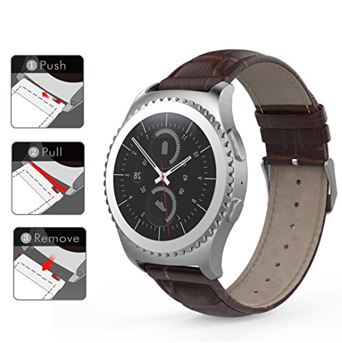 BESSKY Leather Watch Band Strap for Gear S2 Classic SM-R732 (Brown)