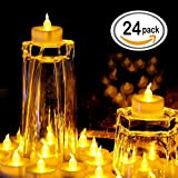 LED Tea Light, 24 Pack Flameless Flickering Battery Operated Tea Candle, Small Outdoor Amber Yellow Flickering Bulb For Party, Wedding, Holiday, Halloween Decor By Lemon Hour