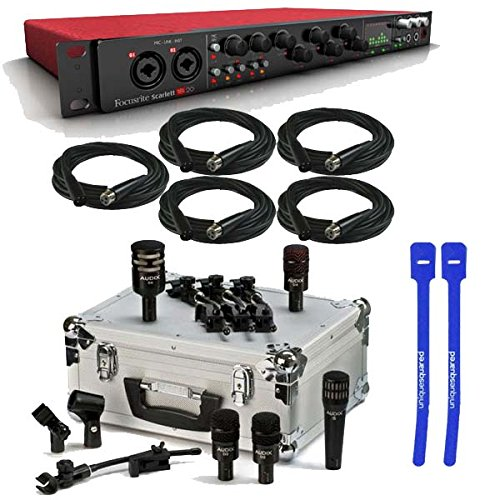 Focusrite Scarlett 18i20 USB Audio Interface w/ Audix DP5a 5-Piece Drum Mic Package & XLR Cables & Cable Ties