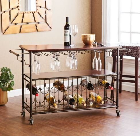 K&A Company Wood Top Cart KitchenIsland Wine Rack with Storage Shelf Wood Shelf Island Rolling Towel Shelves Drawer Wine Adjustable