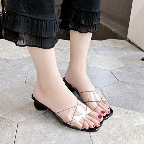Épais Mules Chaussure Été Lanière Mode Transparent Tongs Talons Confort Noir Femmes Sandales Élégant pp1Unf