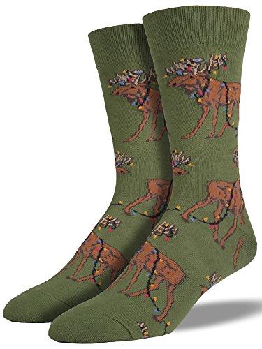 """Socksmith Mens Holiday Socks """"Xmas Lights Moose"""" - Parrot..."""