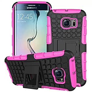 Heavy Duty Shock Proof Impact Rugged Hybrid Case For Samsung Galaxy S6 G9200 Kick Armor Phone Back Cover With Stand Function --- Color:Hot Pink