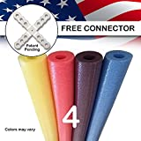 USA Foam Deluxe Famous Foam Pool Noodles -Made in USA Wholesale 4 Pack - Assorted
