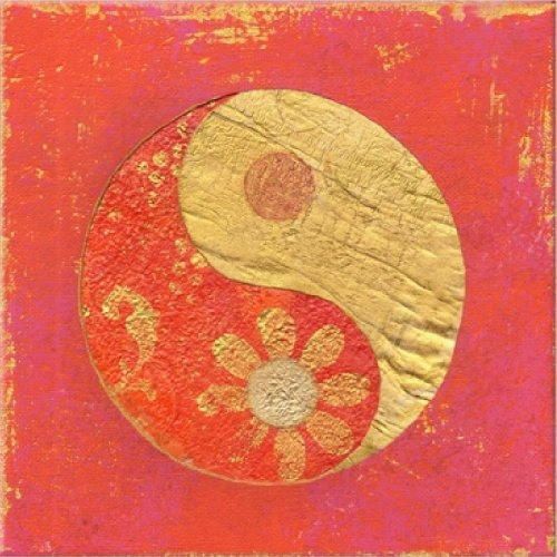 Startonight nachtleuchtendes Leinwandbild Yin Yang rotem Hintergrund 40 cm x 40 cm