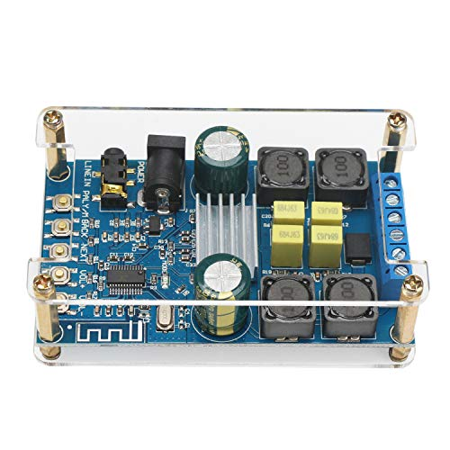 Bluetooth Amplifier Board, DROK Digital Amplifier Wireless BT 3.0 4.0 4.1 Audio Amp Board Headphone 2 Channel 50W+50W Small Amplifier Module with Case (Amp Board)