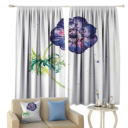 HoBeauty Anemone Flower, Blackout Window Curtain, Branch of Garden Flower with Watercolor Splashes Nature Inspired, Customized Curtains,(W84 x L72 Inch, Purple Pink Green