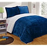 chezmoi collection 3piece micromink sherpa reversible down alternative comforter set queen navy