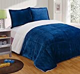 Chezmoi Collection 3-Piece Micromink Sherpa Reversible Down Alternative Comforter Set (King, Navy)